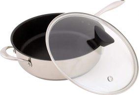 Ozeri stainless steel non-stick pan ,PFOA and APEO free, double handle saucepan