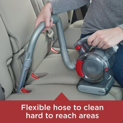 Black and decker with flexible hose used in cleaning the car