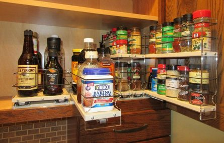 Spice rack holder cabinet mounted with 3 drawers and 30 capacity