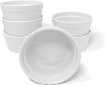 white microwave and oven safe porcelain ramekins that are oven safe