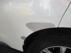 レクサスRX 新車左リヤドア 鈑金塗装ヘコミ修理