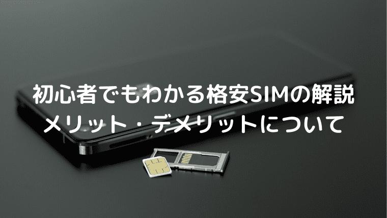 初心者でもわかる格安SIMの解説とメリット・デメリットについて