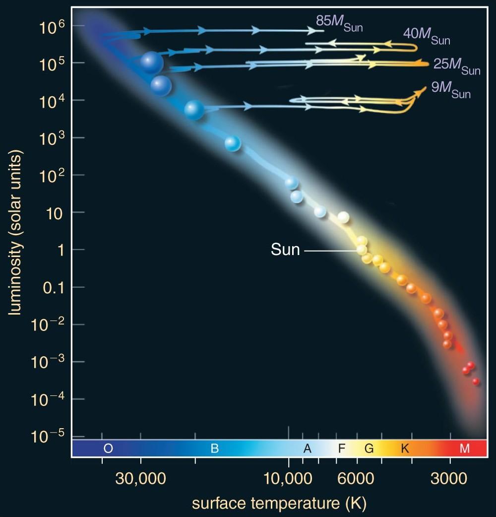 medium resolution of evolution on the hr diagram of massive stars