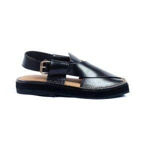 Kaptaan-Black-Mens-Handmade-Leather-Peshawari-Chappal-Pakistan-UK