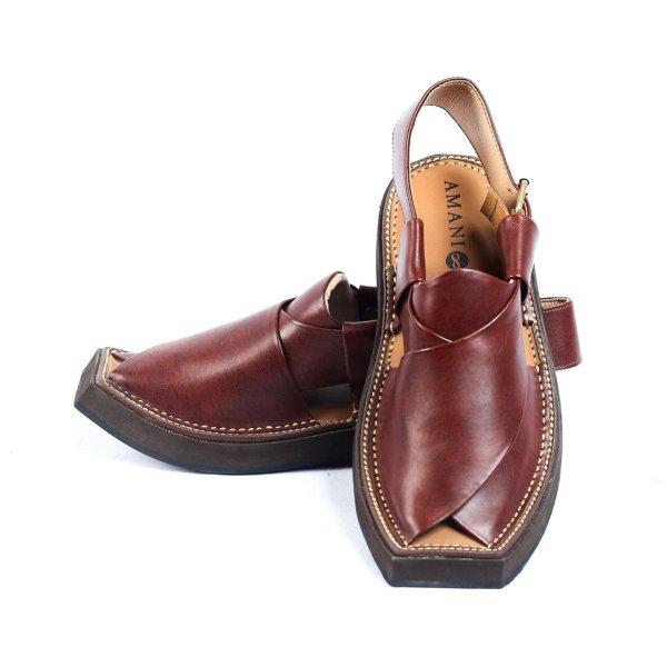 Kaptaan-Maroon-Mens-Handmade-Leather-Peshawari-Chappal-Pakistan-UK
