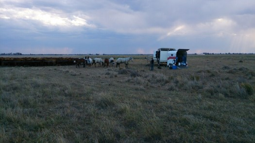 A storm rolls in to camp while the men prepare for the night.