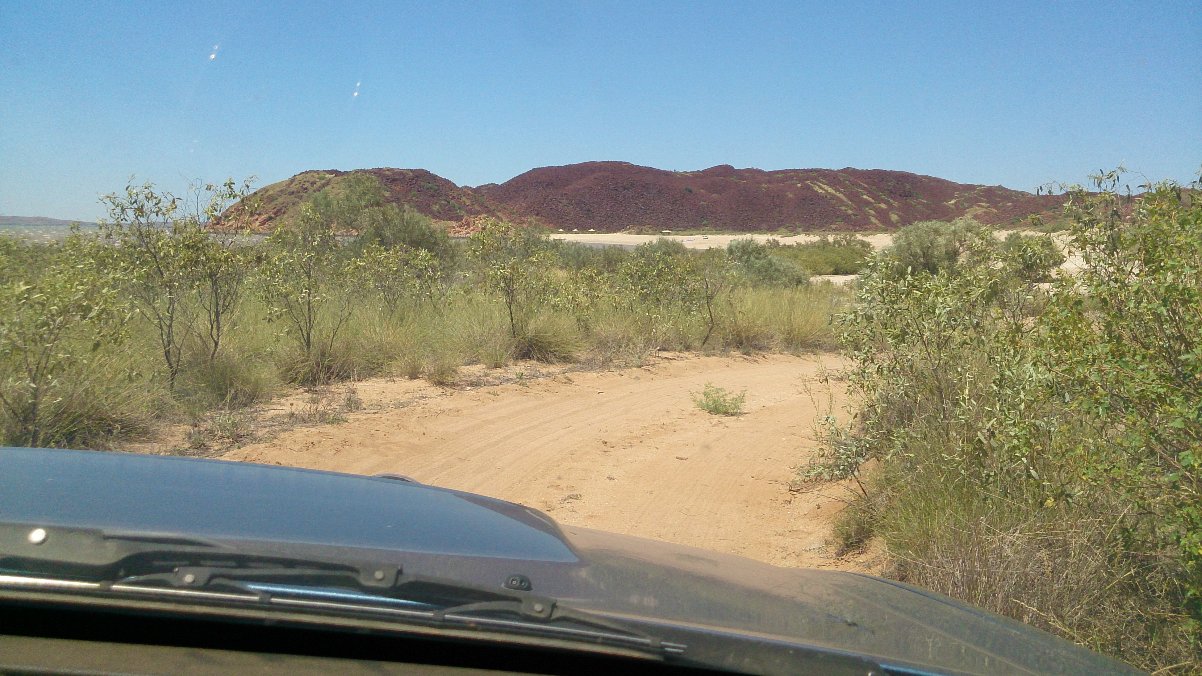 Driving on the beach at Hearson's Cove, Dampier.