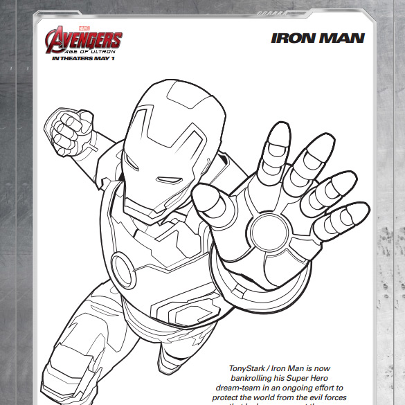 FREE Avengers: Age of Ultron kids' coloring sheets packet