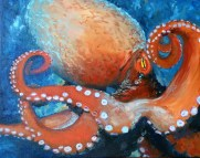 "Coral Octopus ,Oil on Canvas, 16 x 20"", 2016 - SOLD"