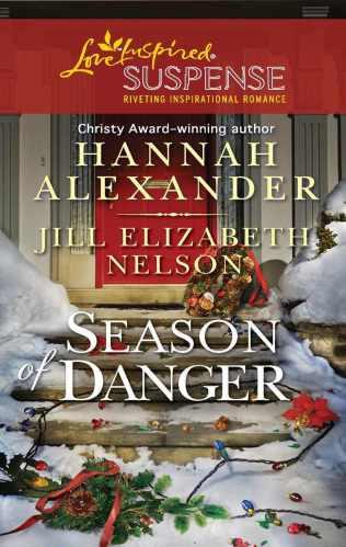 Cover for Jill Elizabeth Nelson's novella Mistletoe Mayhem, A Love Inspired Suspense Mystery, Published in the 2 novella collection, Season of Danger