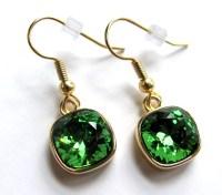 Iced Green Swarovski Crystal Rhinestone Gold Earrings ...