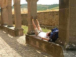 Pilgrim Nap, Eunate (Spain) ©Timothy Charles Geoffrion. Please email for permission to copy.