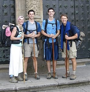 Team Geoffrion arriving at St. James Cathedral in Santiago (Day 37)