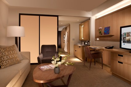 Parlour area of the standard guest rooms with custom finishes and furniture