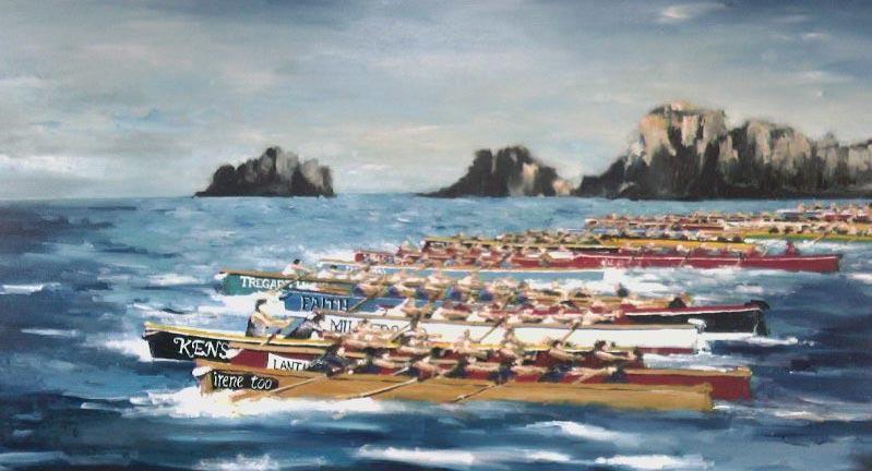 Gig Rowing Paintings Artwork
