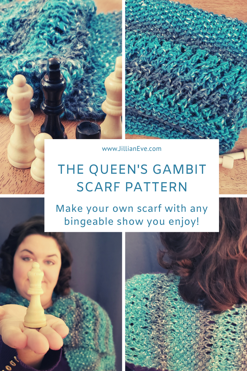 Title: Jillianeve.com, The Queen's Gambit Scarf Pattern: Make your own scarf with any bingeable show you enjoy!