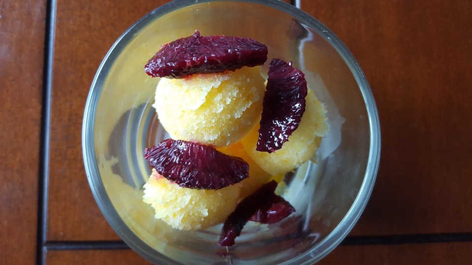 Blood Oranges with Orange sorbet