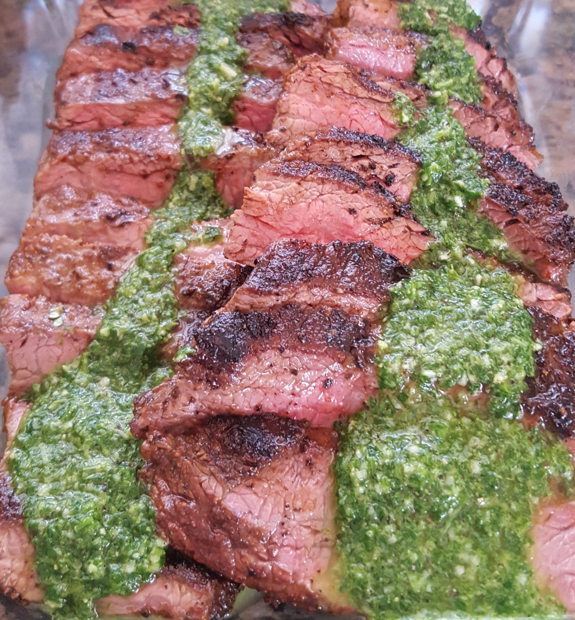 Chimichurri on Flank steak