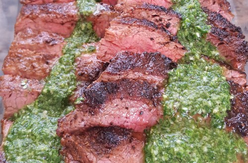 Chimichurri on Flank steak
