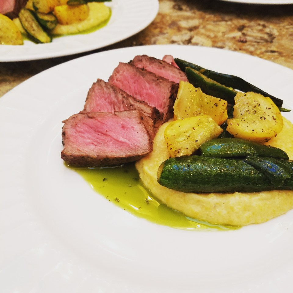 NY Strip with Polenta and chimichurri