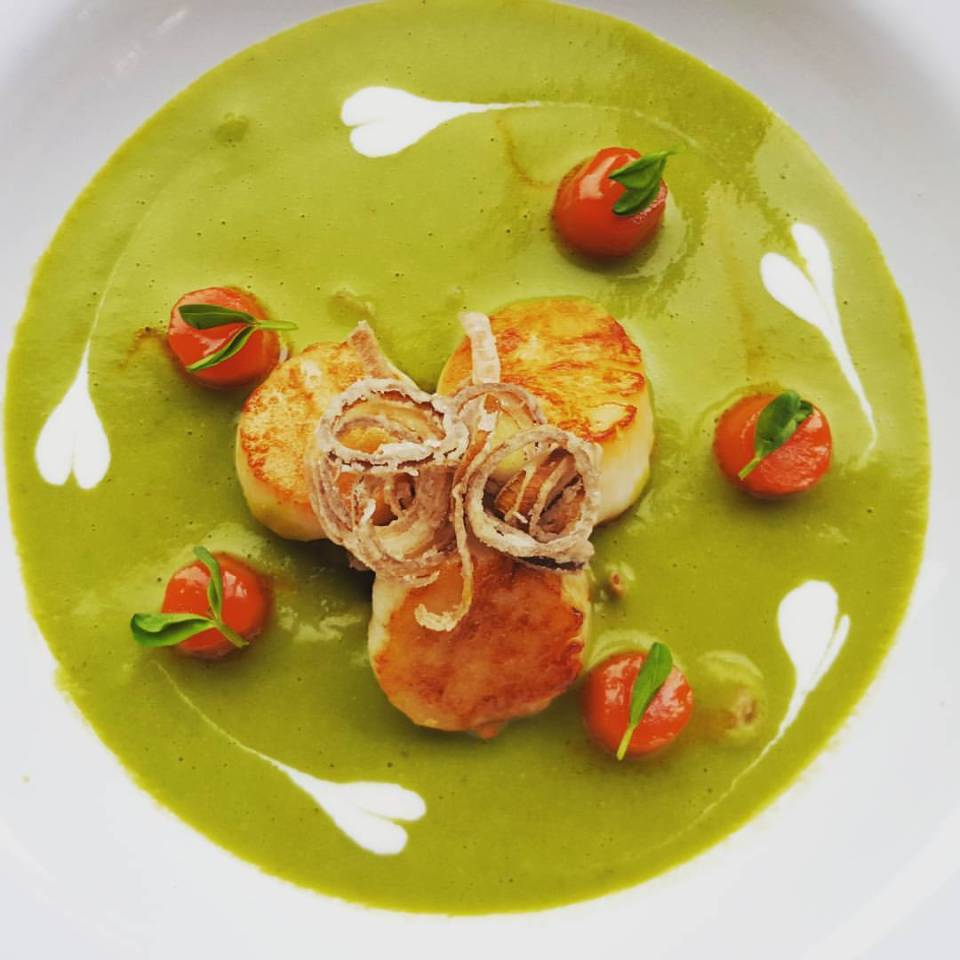 Scallops with Peas and Carrots, Pea Soup & Glazed Carrots