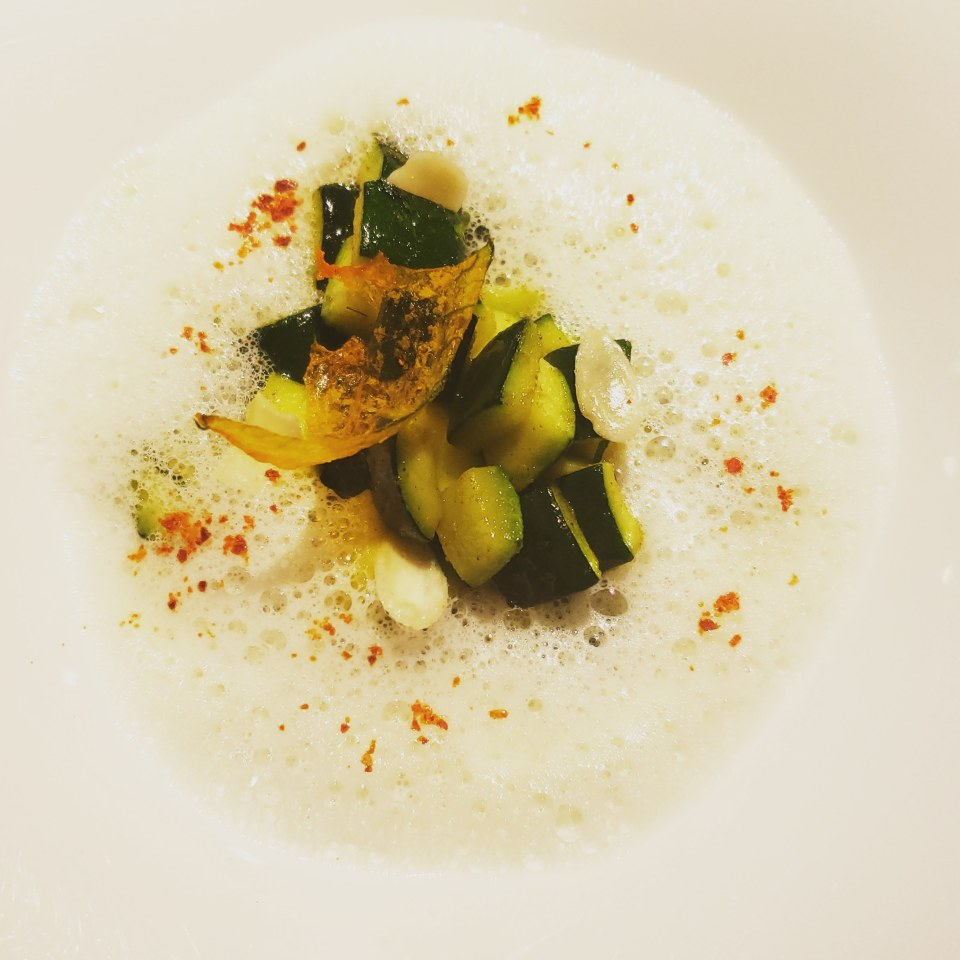 Robuchon L'Atelier Tasting Menu- curry zucchini with almond foam