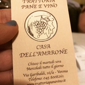 Trattoria Pane e Vino Restaurant in Verona Italy