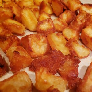 Close up of super crispy oven roasted potatoes