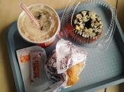 Dunkin breakfast: a mab bunwich, their version of a cronut & good ol' iced coffee