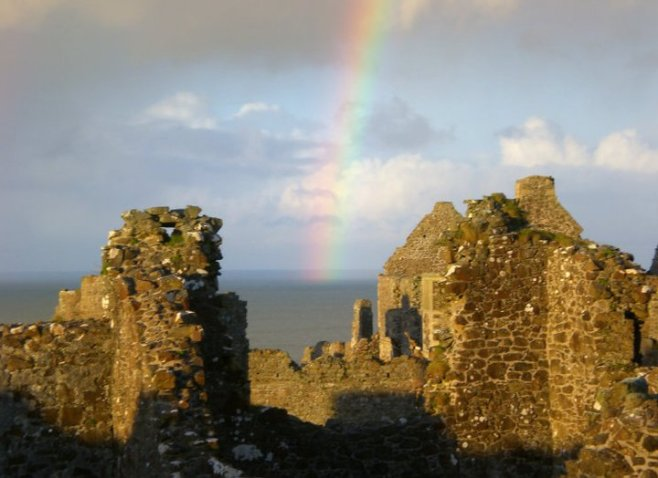 Dunce Castle with a beautiful rainbow above it!
