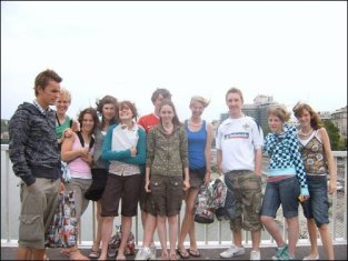 A bunch of us on a bridge over the Danube.
