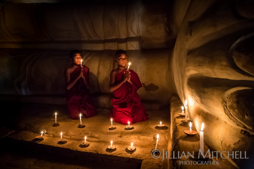 Young Monks pray in a temple in Old Bagan, Burma.