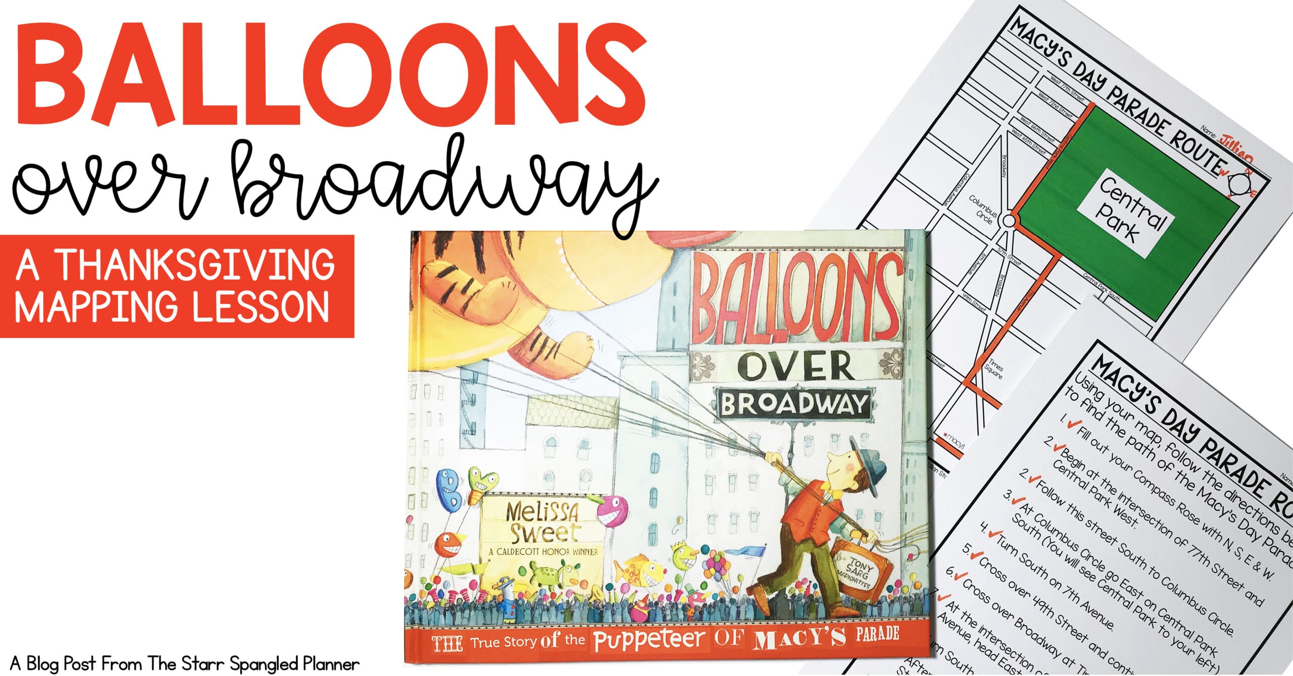 Thanksgiving free teaching activity. Balloons over Broadway book and Macy's Day Parade are a perfect opportunity to teach mapping at Thanksgiving!