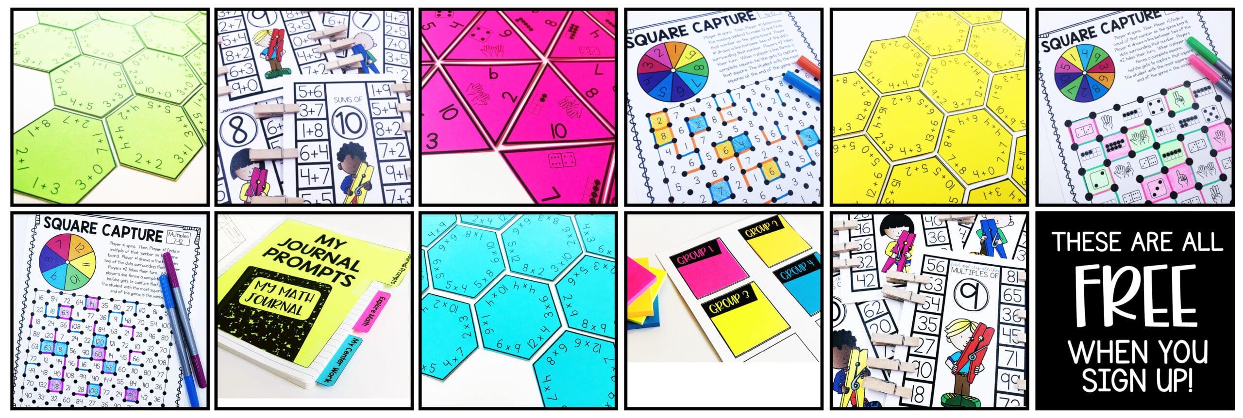 Guided Math Center Freebies