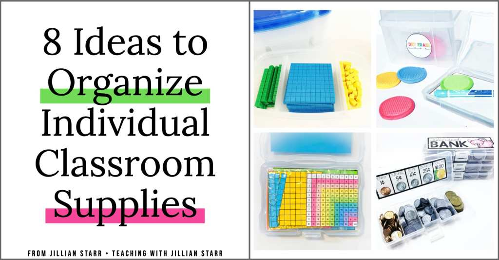 Keeping supplies organized for individual use is a must right now! No more worrying about sharing materials with these 8 organization tips for first, second and third grade classrooms. (Includes tips for creating tool boxes, sorting materials, and organizing math manipulatives.)
