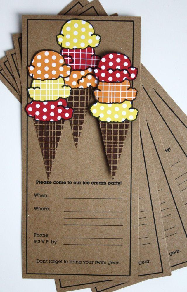 card sarah ice cream party invitations