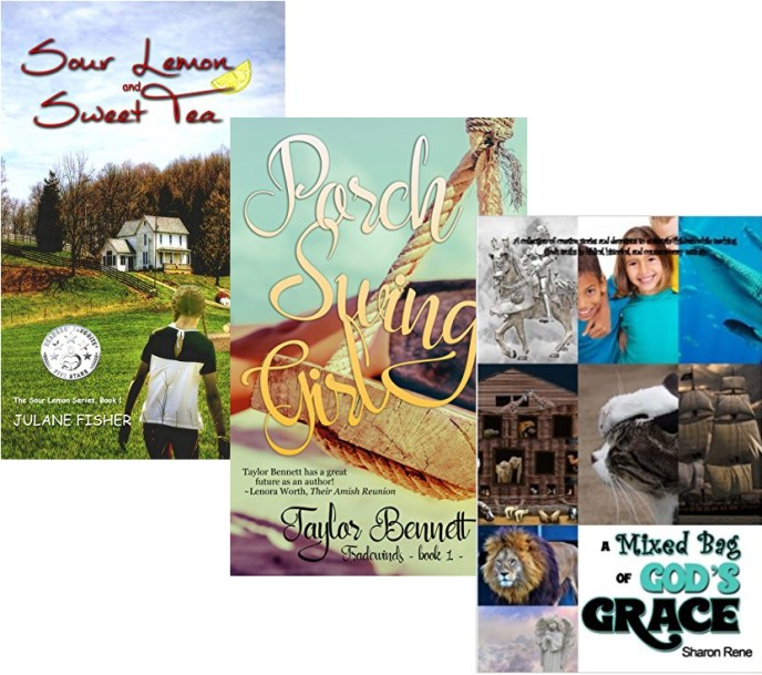 """Book covers for """"Sour Lemon and Sweet Tea,"""" """"Porch Swing Girl,"""" and """"A Mixed Bag of God's Grace."""""""