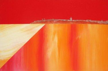 St Andrews sunset, acrylic on board 40cm x 20cm