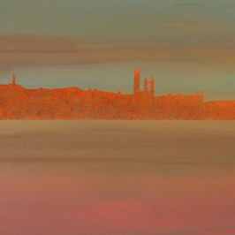 Misty evening, East Sands. Acrylic on board. 100cm x 22cm