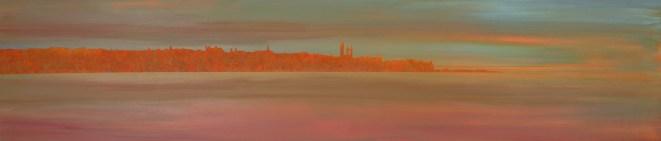 Misty evening, East Sands. Acrylic on board. 100cm x 22cm