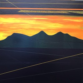 Sunset, clouds and lines at Scott's View. Acrylic on board, 40cm x 40cm.