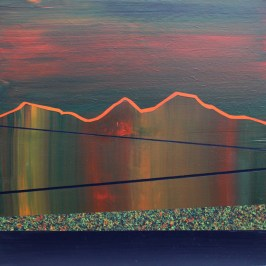 Scott's view dusk. Acrylic on board, 30cm x 30cm