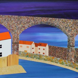Viaduct, Lower Largo. Acrylic on board, 40cm x 20cm