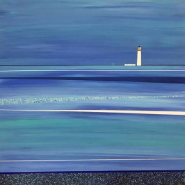 The seas around Barns Ness Lighthouse. Acrylic on board, 40cm x 40cm