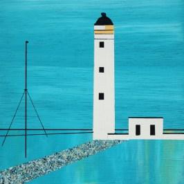 Barns Ness and pole. Acrylic on board, 10cm x 10cm