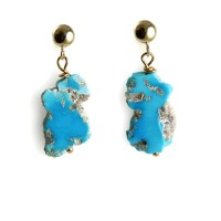 Sleeping Beauty Turquoise Earrings with 14k Gold Posts