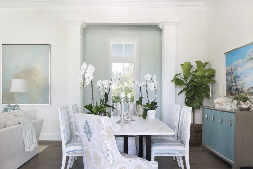 Dining Room with Marble and Brass Dining Table in a New Construction Project Jill Shevlin Design Vero Beach Interior Designer Orchid Island