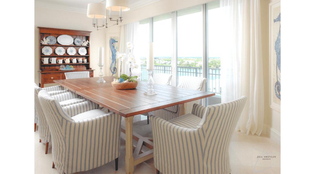 Jill Shevlin Design Vero Beach Interior Designer Coastal Casual Chic Traditionl Dining Room Blue and White