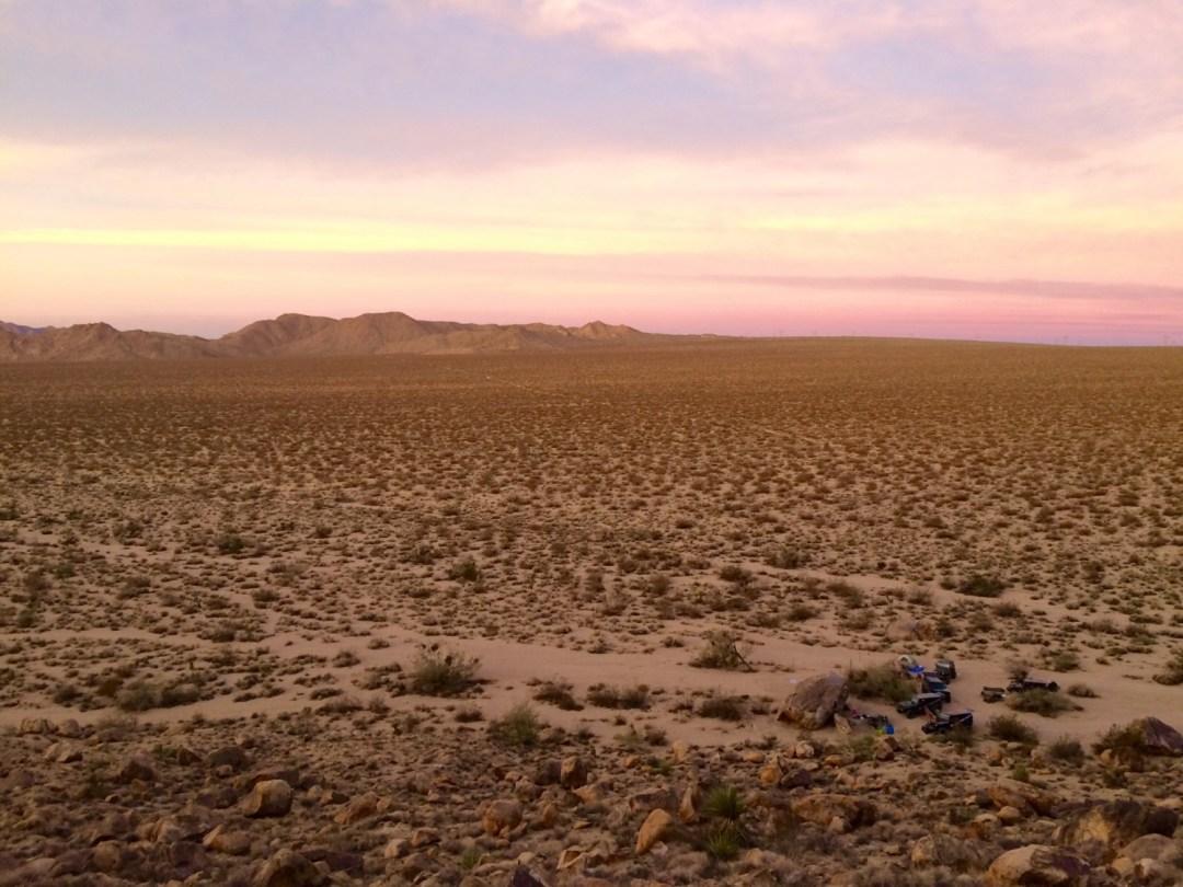 Mojave Trail sunrise at campsite
