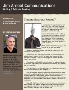 Jim Arnold Communications March/April 2013 News